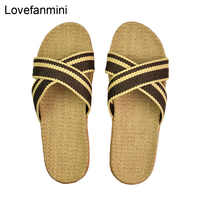 Natural linen slippers summer home indoor sandals men's man unisex spring and autumn couples landing guests flax Non-slip 522