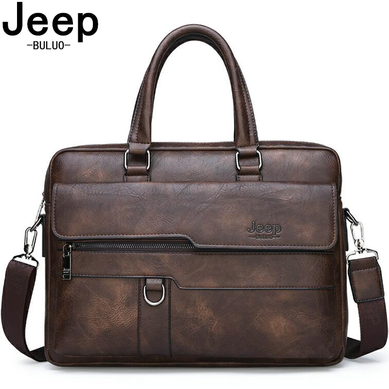JEEP BULUO Brand Man Business Briefcase Bag Split Leather High Quality Men office Bags For 14
