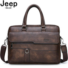 JEEP BULUO Brand Man Business Briefcase Bag Split Leather High Quality Men offic