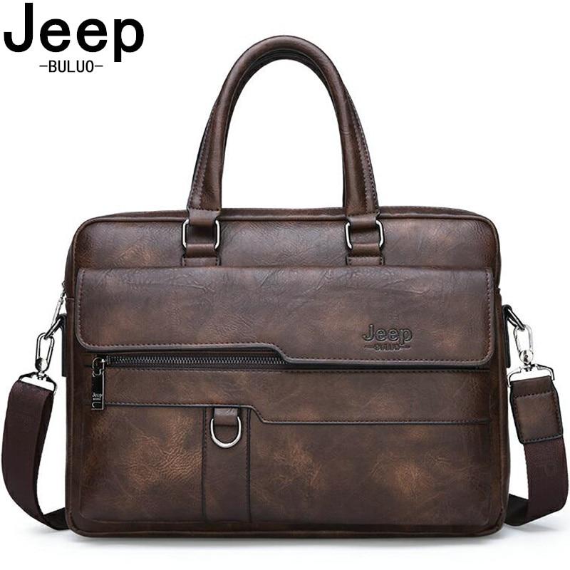 JEEP BULUO marque homme mallette d'affaires sac fendu en cuir de haute qualité hommes sacs de bureau pour 14 pouces ordinateur portable A4 fichier Causel mâle