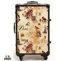 2016 nueva EVISPO Francés estilo retro romántico lanzador carro de equipaje maleta lock box 20, 24 pulgadas hombres y las mujeres hermosas lockbox