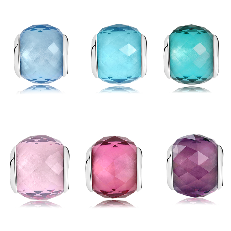 100% Authentic 925 Sterling Silver Six Color Sky Blue Pink Murano Glass Beads Fit Original Pandora Charms Bracelet Jewelry