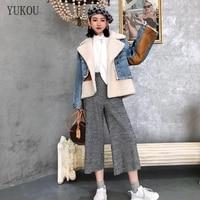 Double faced Fur Women Dress 2018 Winter Fashion Natural Real Merino Sheep Fur Inner Bladder Jacket Female Outerwear Denim