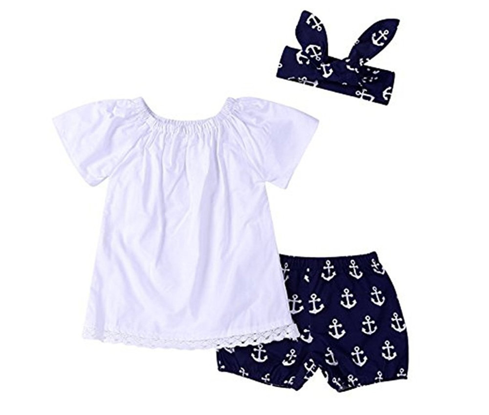 Cute Baby Girls Clothes Set 0-2 Year Toddler Baby Girls Short Sleeve Lace Tops+Anchor Pants with Headband Outfits Set