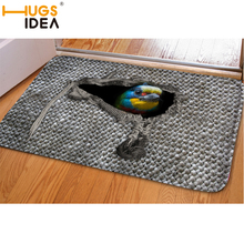 HUGSIDEA 3D Grey Woven Funny Bird Cat Carpet Welcome Home Doormat Area Rugs and Carpets for Bedroom Kitchen Tapete Alfombras