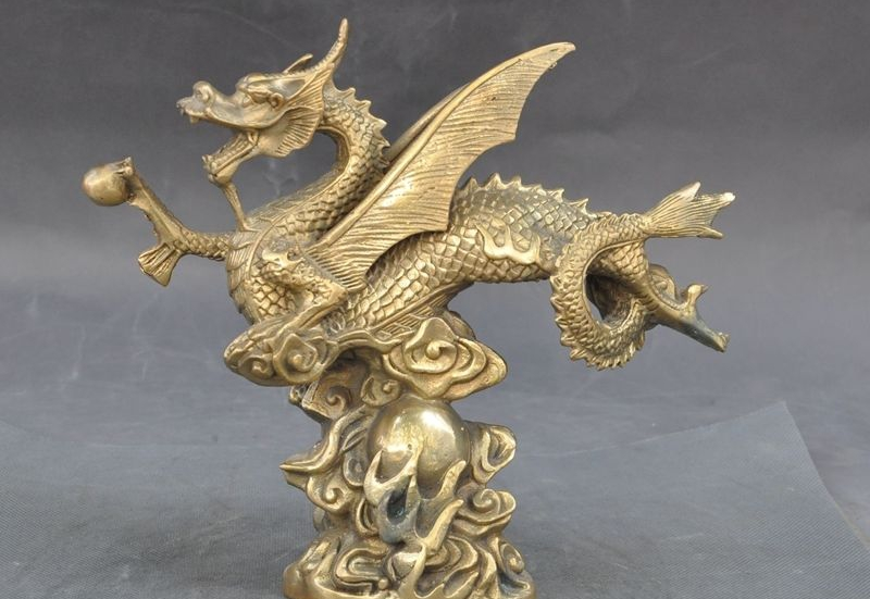 "9"" Lucky Chinese Folk Brass fengshui Animal Decoration Dragon Play Bead Statue"