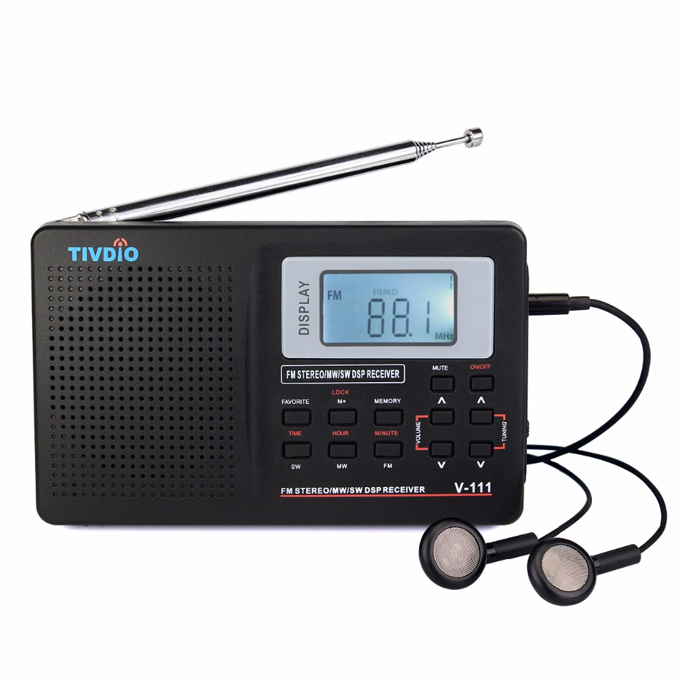 Tivdio V-111 Full Band Radio FM Stereo/MW/SW DSP World Band Receiver with Timing Alarm Clock Portable Radio Black F9201 5pcs pocket radio 9k portable dsp fm mw sw receiver emergency radio digital alarm clock automatic search radio station y4408
