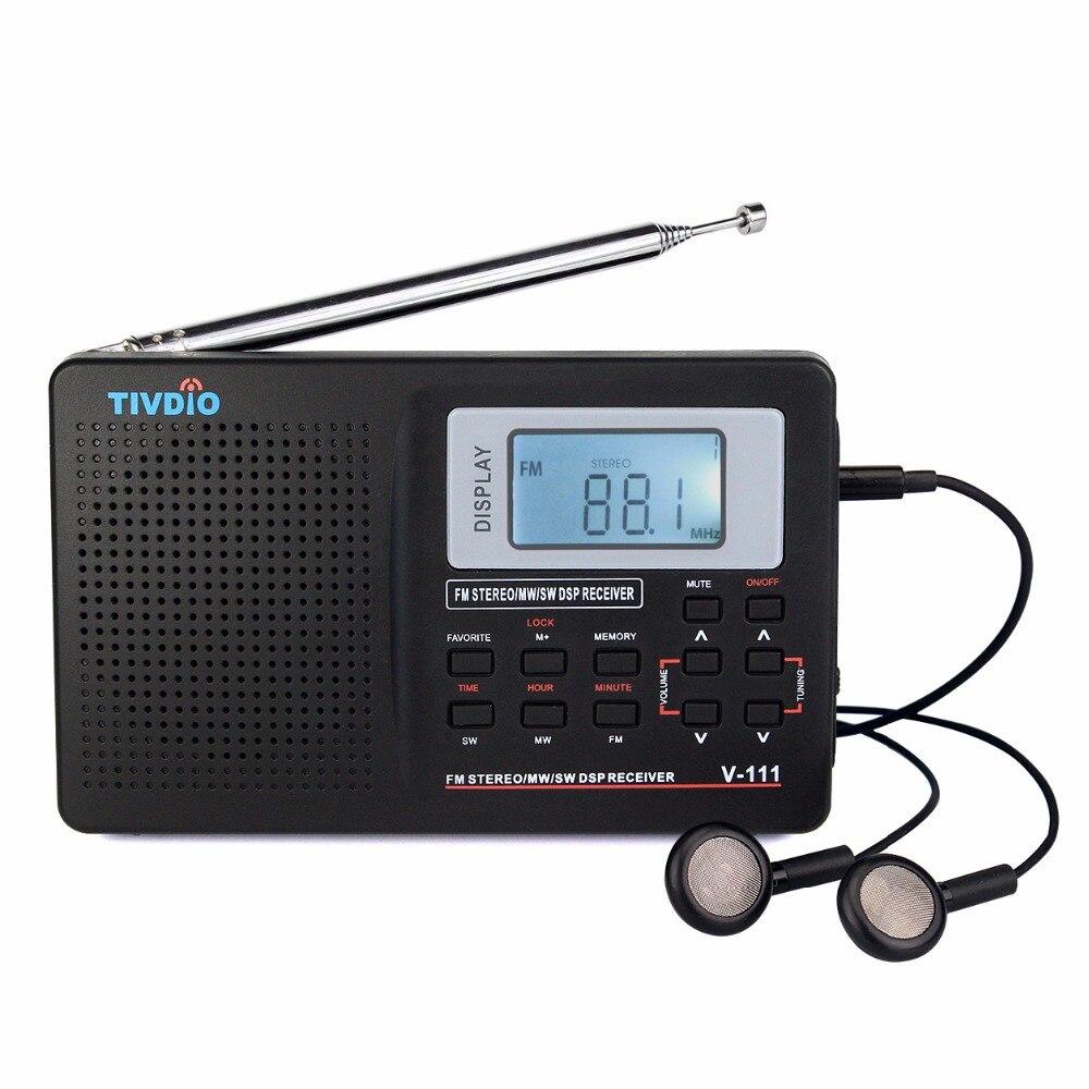Tivdio V-111 banda completa Radios FM/MW/SW DSP mundial Band receptor con sincronización del reloj de alarma portable radios negro F9201