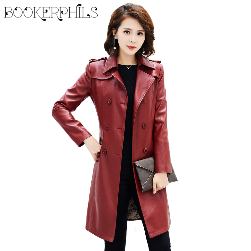 2019 Spring Autumn Long Faux   Leather   Jacket Women Trench Coats Ladies PU   Leather   Jacket Female Overcoats Windbreaker With Belt
