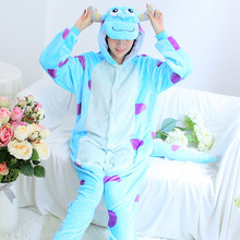Blue Monster University Sulley Sullivan Onesies Pajamas Cartoon Costume Cosplay Pyjamas Party Flannel Pijamas
