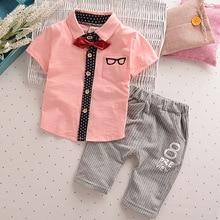 Малышей Детская одежда Летняя одежда для маленьких мальчиков Комплекты Одежда для джентльменов костюмы Детский свитер Детская деловая рубашка+ короткие штаны