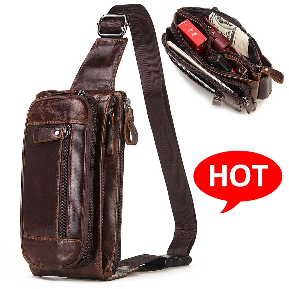 KAVIS Vintage 100% Cowhide Genuine Leather Men Waist Bag Male Packs Belt Loops Chest Bag Mobile Phone Holder Pouch Male Purse