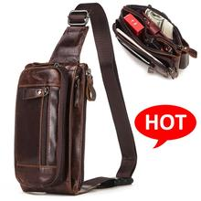 KAVIS Vintage 100% Cowhide Genuine Leather Men Waist Bag Male Packs Belt Loops Chest Bag Mobile Phone Holder Pouch Male Purse