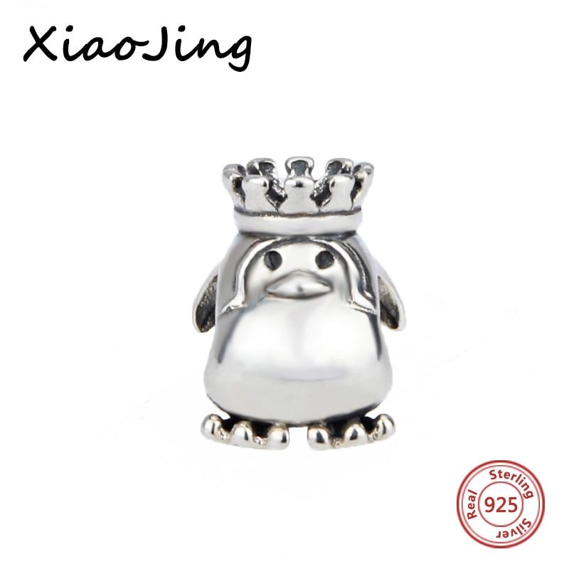 Genuine 925 Sterling Silver Cute crown penguin Charm Beads jewelry making women gifts Fit Original pandora Bracelet DIY Pendants
