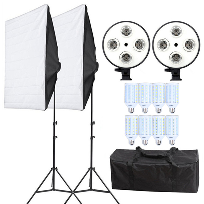 Photo Studio Photography Lighting Continuous Kit 110v 20W LED Bulbs*8+Softbox*2+4in1 Bulb Socket*2 +Light Stand*2+Carry Bag