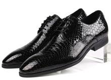 Мода Серпантин черный/синий дерби обувь мужская платье обувь из натуральной кожи бизнес обувь острым носом мужские свадебные туфли