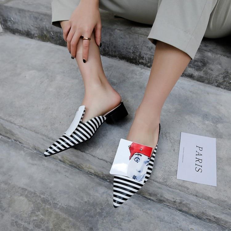 MLJUESE 2019 frauen hausschuhe Weiche Kuh leder Rom stil spitz schwarz farbe platz ferse sandalen party kleid hochzeit-in Hausschuhe aus Schuhe bei AliExpress - 11.11_Doppel-11Tag der Singles 1