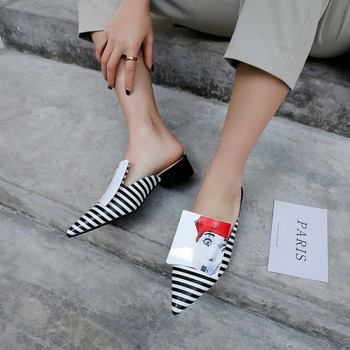 MLJUESE 2019 women slippers Soft Cow leather Rome style pointed toe black color square  heel sandals party dress wedding
