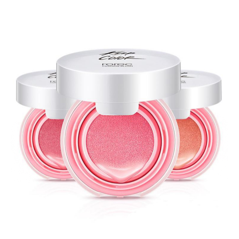 ROREC Baked Blush Air Cushion Blusher pressed foundation face makeup cheek blusher cosmetics Rose Pink Cheek Blush Powder Matte in Blush from Beauty Health