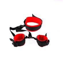 Couples BDSM Bondage Sex Toys Adult Games Bondage Restraints Kit Handcuffs+Ankle Cuffs & BDSM Mask Blindfold Back Strap Sex Toys