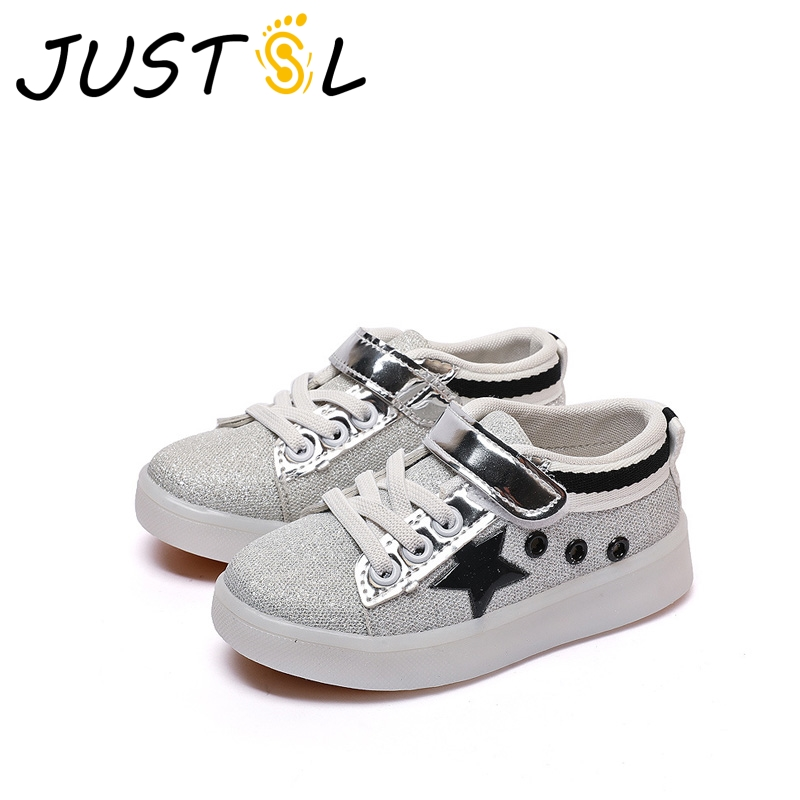 JUSTSL 2017 autumn new childrens sports shoes boys casual shoes girls LED light shoes kids glowing fashion sneakers