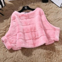 2018 Genuine Mink Fur Jacket For Fashion Women Batwing Sleeve Real Knitted Mink Fur Coat Winter Nature Mink Fur Outwear