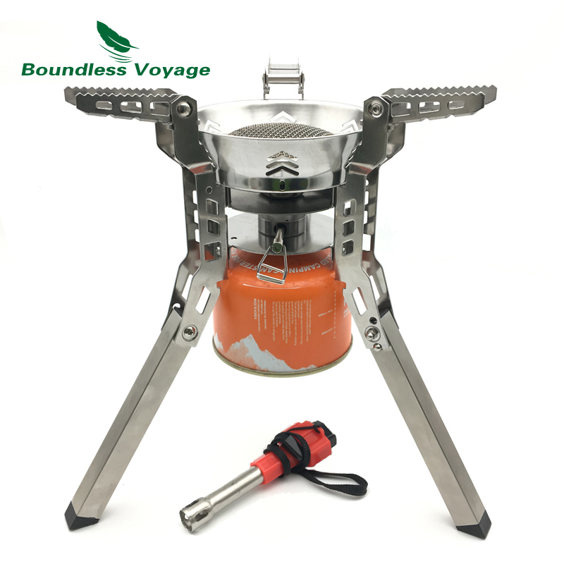 Boundless Voyage Outdoor Camping Gas Folding Stove Big Cooker Foldable Cookware with free Igniter boundless voyage gas stove camping stove for outdoor cooking portable lightweight big power aluminum alloy bv1007