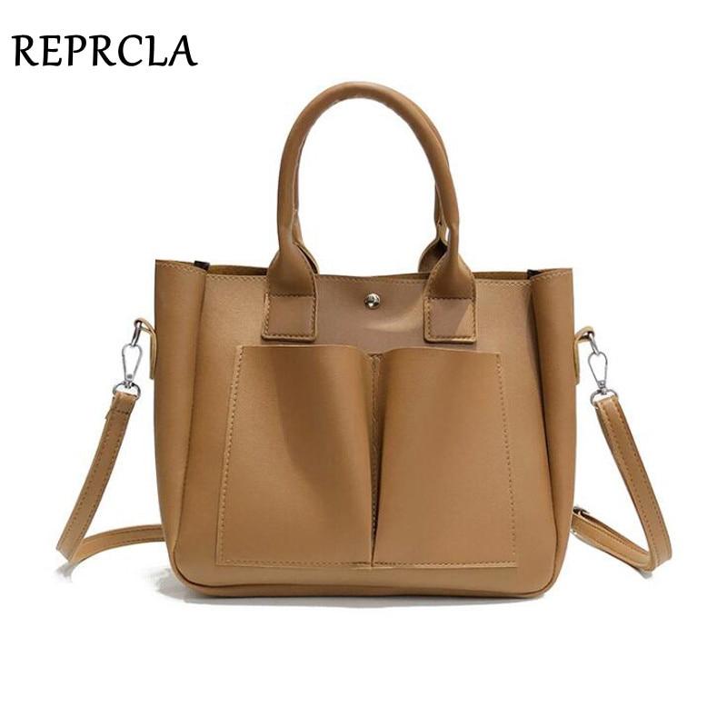 REPRCLA New Casual Women Leather Handbag Large Capacity Shoulder Bag Female Designer PU Crossbody Women Bags Bolsa