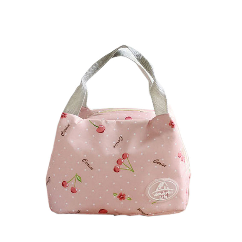 Elegant Thermal Portable Cooler Bags Nylon+Aluminum Foil Insulated Picnic Bags Students Popular Food Organizer