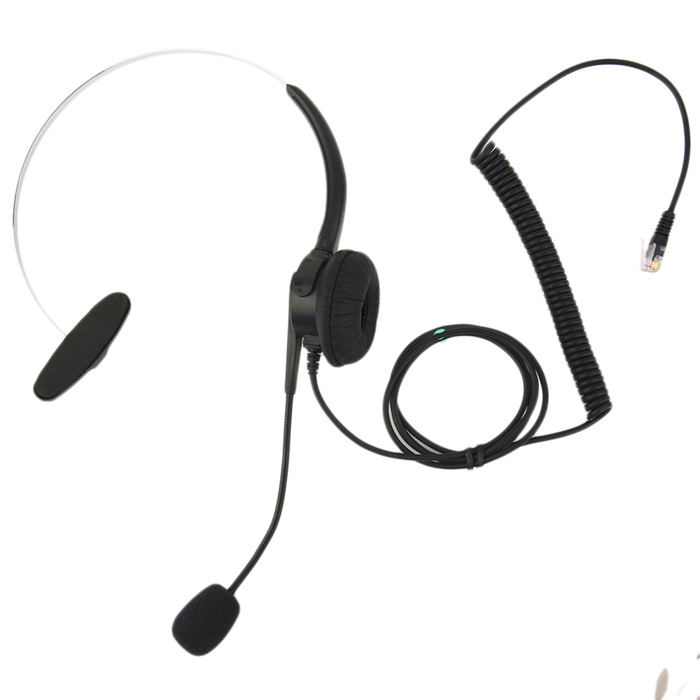 Top Quality Crystal Head Set Telephone Monaural Corded Headset 4-pin Black