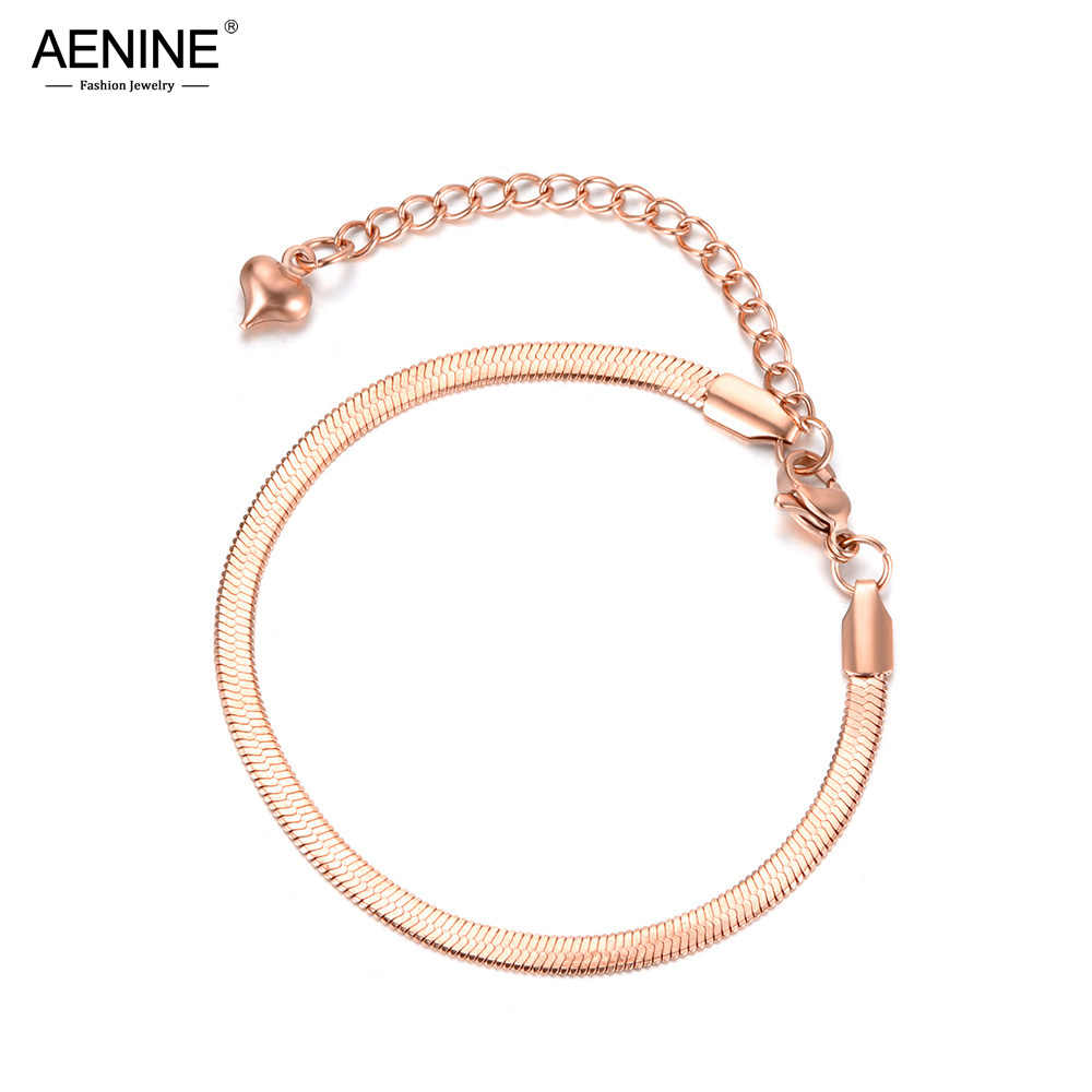 AENINE Trendy Jewelry Stainless Steel Snake Chain & Link Thin Bracelet Rose Gold Charm Bracelet For Women Chirstmas Gift AB18075