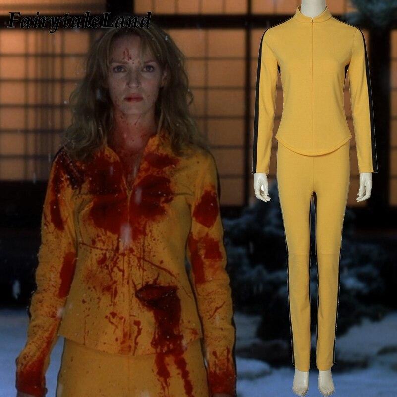 Uma Thurman A Noiva Traje Cosplay trajes de Halloween Cosplay Kill Bill Traje da Noiva roupas casuais terno