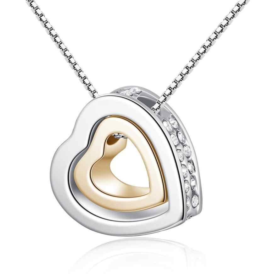 1 PC mode collier couple Double coeur cristal strass amour éternel argent enchanteur bijoux accessoires tour de cou ornements