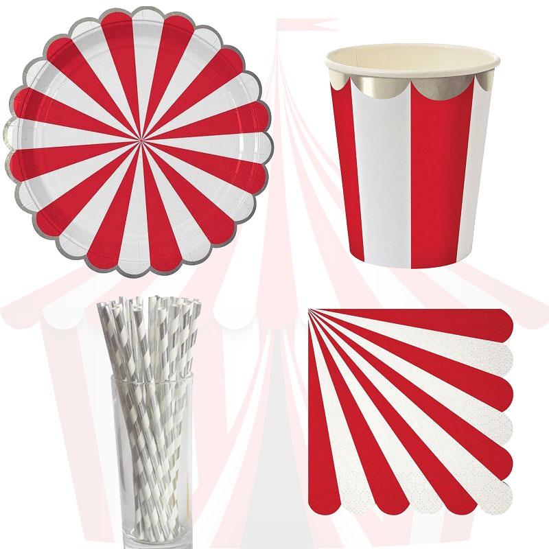 61 шт. цирковая тематика, одноразовая посуда, красные тарелки в полоску, свадебные принадлежности, украшения для дней рождения