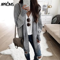 Aproms Elastic Plaid Knitting Long Cardigan Women Winter Sweater Knitted Cardigans Female Soft Casual Outwear Coat Pull Jumper