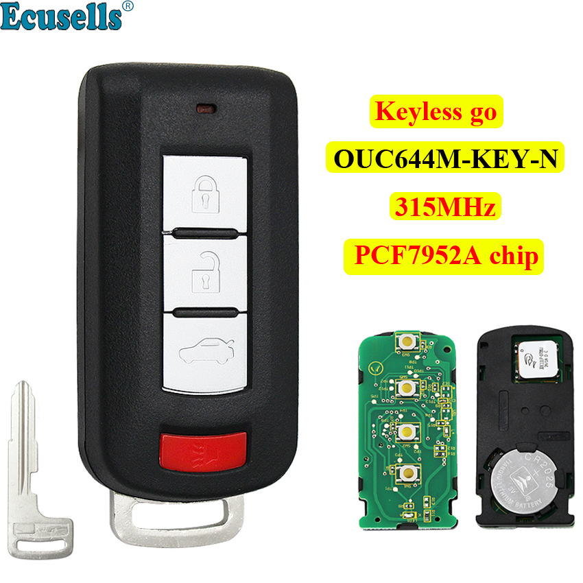 4 buttons Smart keyless go entry Remote Car Key for Mitsubishi Lancer Outlander Galant 315MHz PCF7952A chip OUC644M KEY N