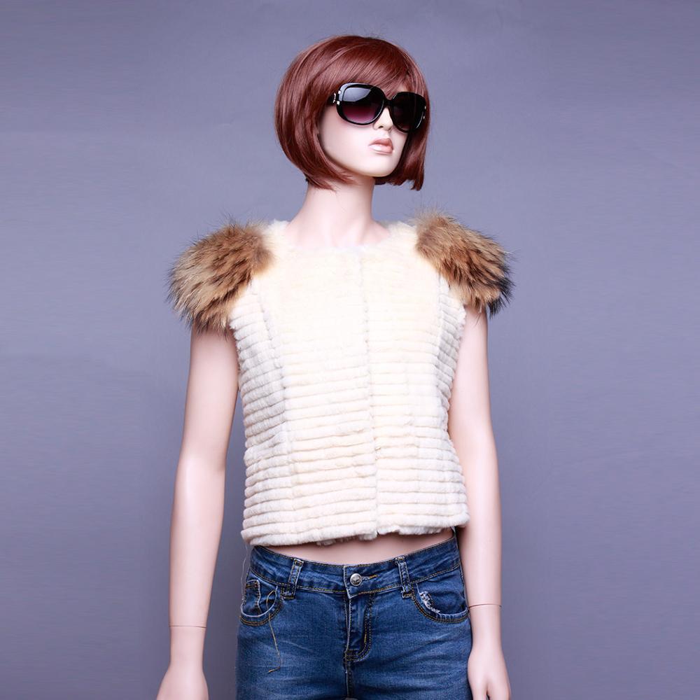 Fur Story 020158B жилет из натурального кроличьего меха, украшение из меха енота, пальто, куртка, пальто, куртка, 6 цветов - Цвет: Beige
