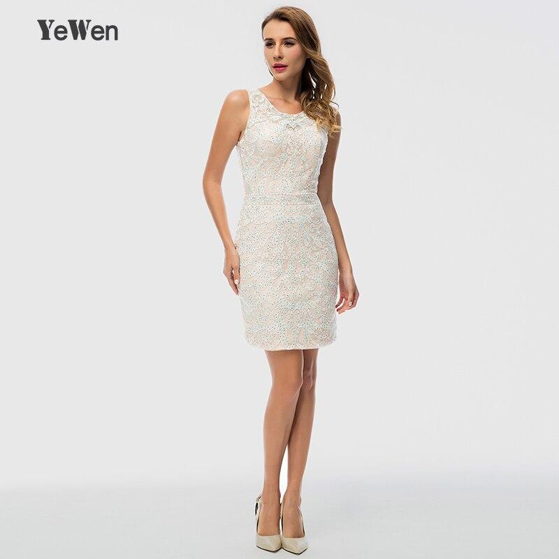 YeWen Elegant Champagne Women O neck Short Casual Party Slim Sexy Backless Cocktail Dress 2018 Sleeveless Glitter vestidos