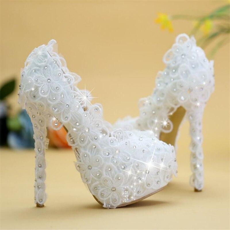 8cm/10cm/12cm/14cm Women Fashion Wedding Shoes Lace White Crystal Bridal Shoes Wedding Bridesmaid Dress Shoes