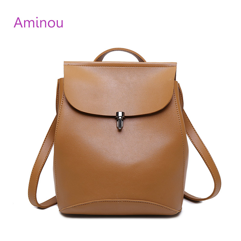 2016 Brand Design Pu Women Leather Backpacks School Bag Student Backpack Vintage Ladies Women Bags Leather Package Female Black