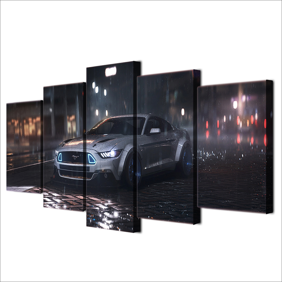 Painting On Canvas Wall Art Frame Home Decor Room HD Printed 5 Panel Modular Pictures Ford Mustang Car In The Rain Poster in Painting Calligraphy from Home Garden
