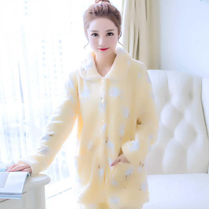 ... Осенне-зимняя теплая Пижама женская пижама женский Пижамный костюм  флисовые пижамные комплекты домашние костюмы пижамы ... 856e78dd9d713