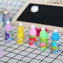 Фотография JOUDOO 6PCS Cute Drink Bottle Shape Eraser Candy Color Rubber Pencil Erasers Cartoon Creative School Supplies Stationery
