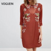 VOGUE N New Womens Tiger Floral Premium Embroidered Half Sleeve Mini Shift Dress Size SML Wholesale