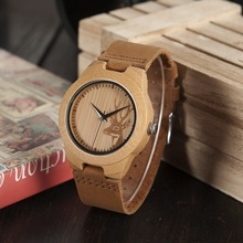 2017 BOBO BIRD Watch Women Elk Bamboo Case Genuine Leather Band Wristwatch with Paper Gift Box OEM B-F29