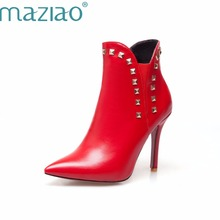 MAZIAO Ankle Boots Women Rivets Thin High Heel Boots Pointed Toe Ladies Boots Sexy Autumn Shoes Plus Size 12 46 Wine Red White