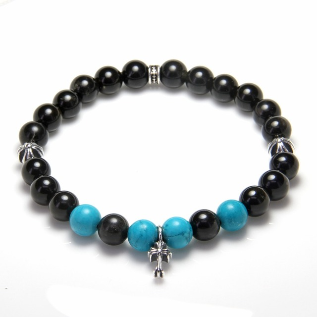 HEMISTON Punk Black Obsidian, Turquoise & 925 Sterling Silver Cross Bead Bracelets, 14CM-24CM, Women and Men Fine Jewelry TS 010