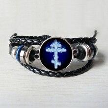 hot sale, orthodox Leather bracelet Byzantine Russian black bracelet glass bracelet jewelry