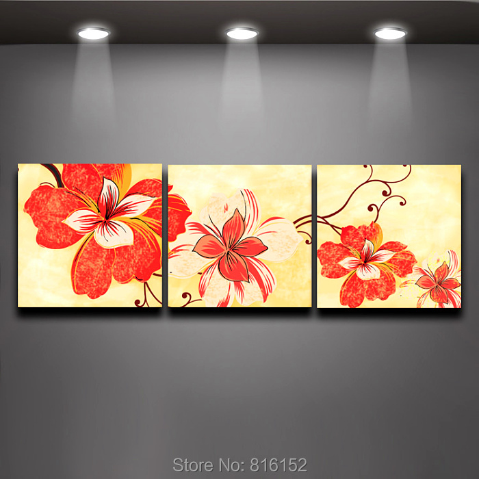 3 Panels Orange Flower Picture Digital Painting Canvas Prints Mural Art  Fashion Home Living Wall Decor