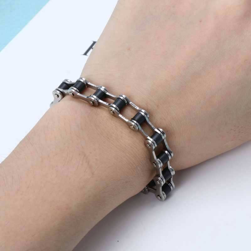 Punk Biker Bracelet Men Motorcycle Link Chain Bike Bicycle Chain Bracelet Bangles Classic Stainless Steel Men's Bracelet
